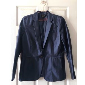 ASOS Satin Navy One Button Blazer Size 8